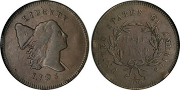 1795 Liberty Cap Half Cent Bust Right