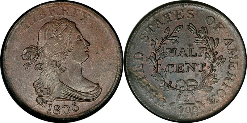 1806 Draped Bust Half Cent