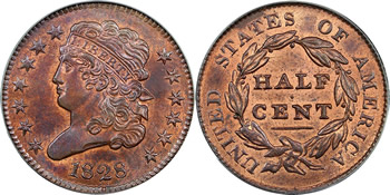 1828 Classic Head Half Cent