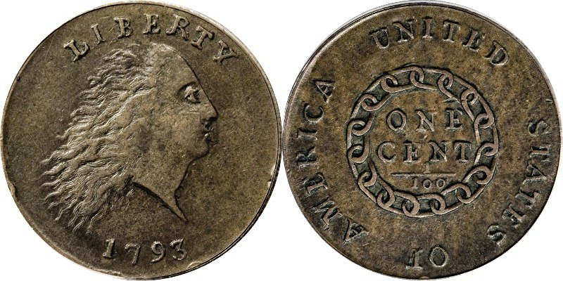 1793 Flowing Hair Chain Cent