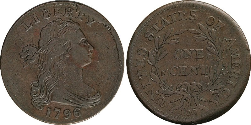 1796 Draped Bust Large Cent Obverse and Reverse