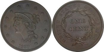 1839 Braided Hair Large Cent
