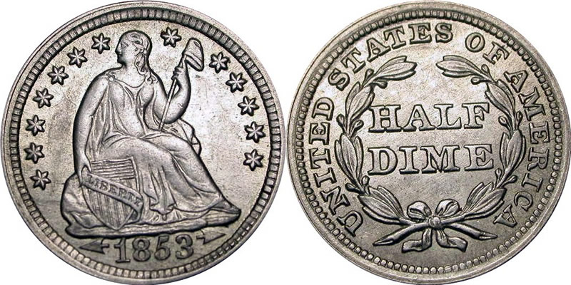 1853 Seated Liberty Half Dime with/Arrows