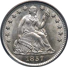 1857 Seated Liberty Half Dime Obverse