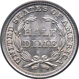 1857 Seated Liberty Half Dime Reverse