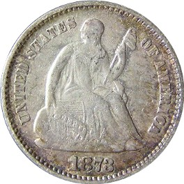 1873 Seated Liberty Half Dime Obverse