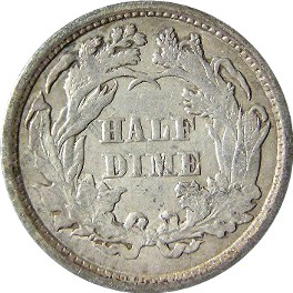 1873 Seated Liberty Half Dime Reverse