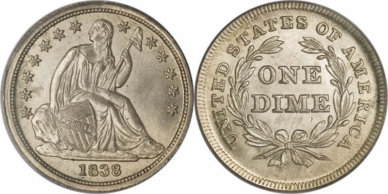 Seated Liberty Dime Large Stars, No Drapery