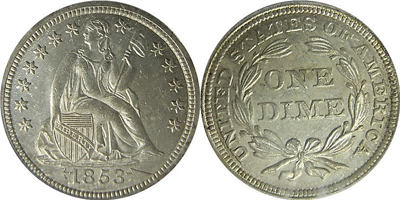 Seated Liberty Dime With Arrows
