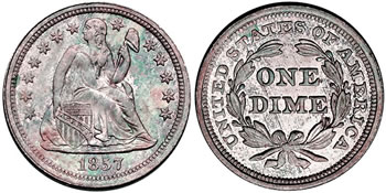 1857 Seated Libery Dime