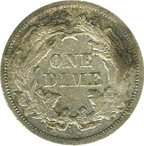 1873 Seated Libery Dime Without Arrows Reverse