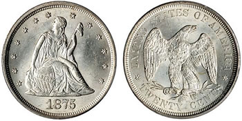 1875 Seated Liberty Twenty Cents