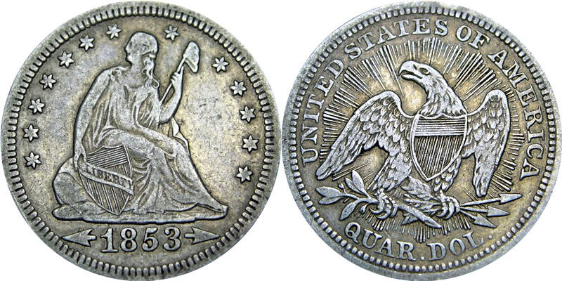 1853 Seated Liberty Quarter with Arrows, with Rays