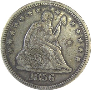 1856 Seated Liberty Quarter Obverse