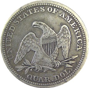 1856 Seated Liberty Quarter Reverse