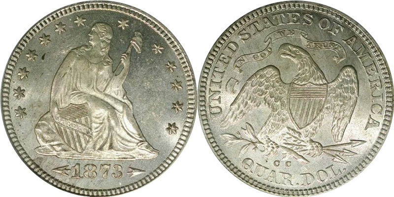 1873 CC Seated Liberty Quarter - With Arrows at Date