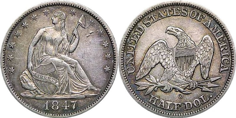 1847 O Seated Liberty Half Dollar Obverse and Reverse