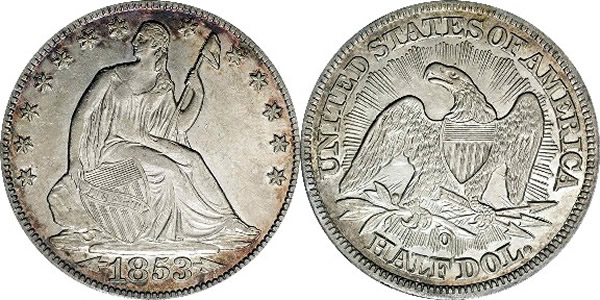1853 O Seated Liberty Half Dollar with Arrows and Rays