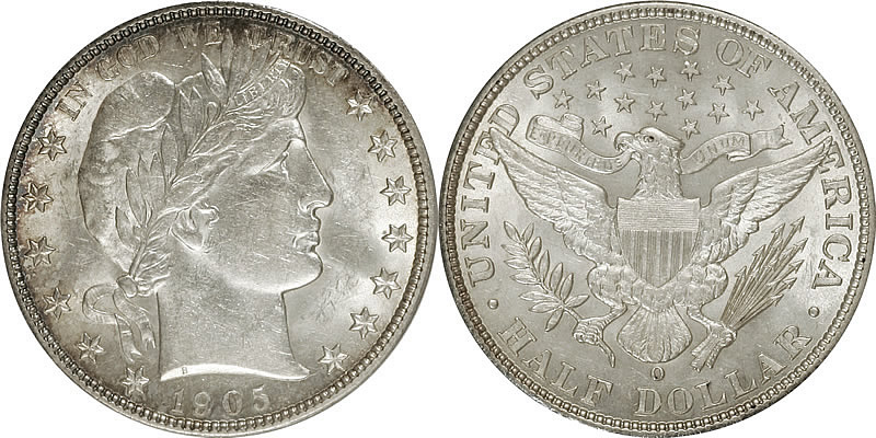   1905 O Barber Half Dollar