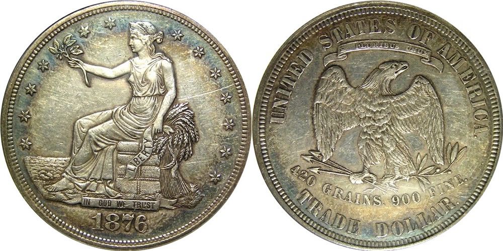 1876 Trade Dollar Obverse and Reverse ANACS AU 55
