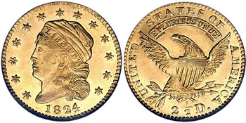 1808 - 1834 Capped Head Left Quarter Eagle