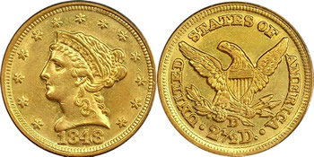1840 - 1907 Liberty Head Quarter Eagle