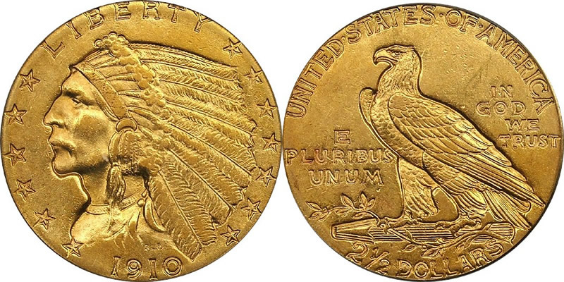 1910 Indian Head Quarter Eagle