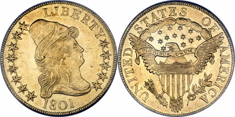 1801 Capped Bust Right Eagle with Heraldic Eagle
