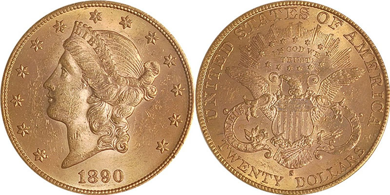 1890 S Liberty Head Double Eagle