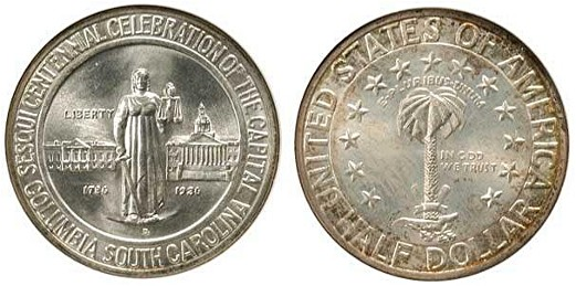 Columbia Sesquicentennial Half Dollar Commemorative Obverse and Reverse