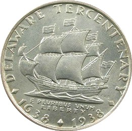 Delaware Swedish Tercentenary Half Dollar Commemorative Reverse