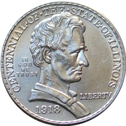 Illinois Centennial Half Dollar Commemorative Obverse