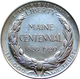 Maine Centennial Half Dollar Commemorative Reverse