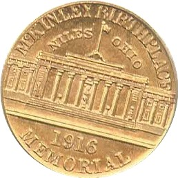McKinley Memorial Gold Dollar Commemorative Reverse