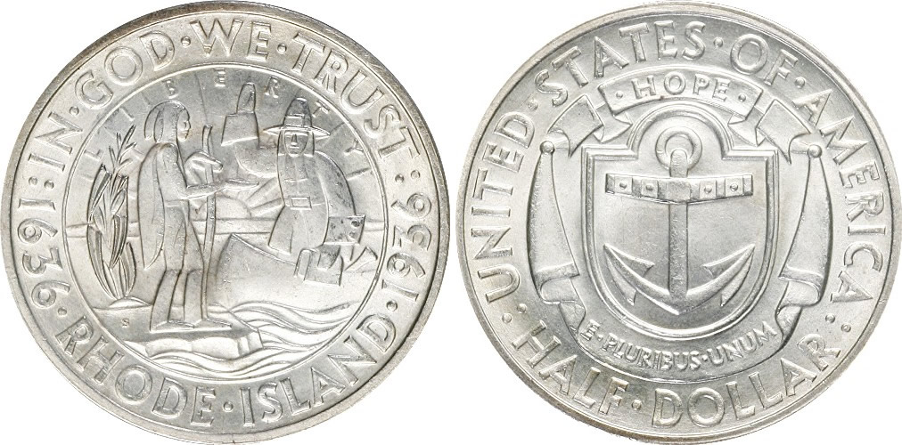 Rhode Island Tercentenary Half Dollar Commemorative