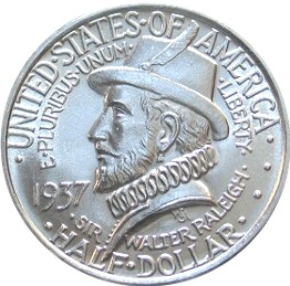 Roanoke Colony Half Dollar Commemorative Obverse