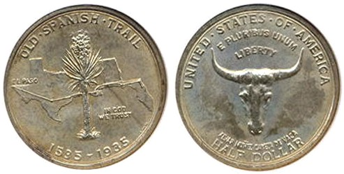 Spanish Trail Memorial Half Dollar Commemorative Obverse and Reverse