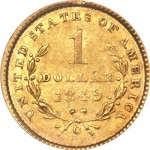 1849-C Open Wreath Gold Dollar Anchors Heritage Auctions February Long Beach